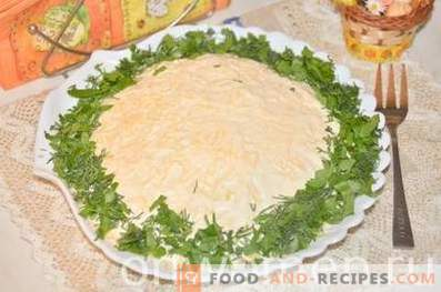 Слоена салата со шпицки и сирење