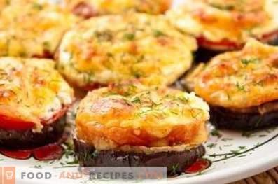 Модар патлиџан печен во рерна со домати и сирење