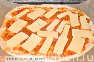 Пица со пилешко и пченка на тесто од квасец