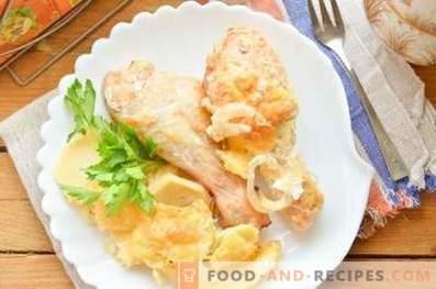 Како да се готви пилешко со компири во рерната