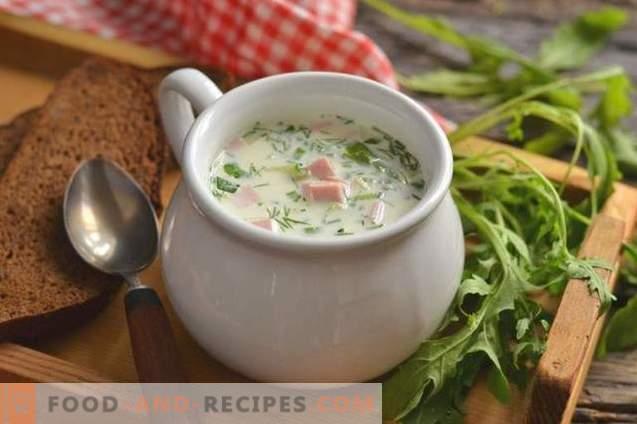 Окрошка со колбаси во супа од зеленчук