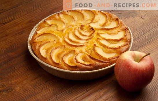 Едноставна и брза пита со јаболка, портокали, урда. Најдобрите рецепти за едноставна пита со јаболка за брза рака